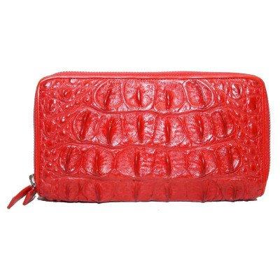Гаманець жіночий зі шкіри крокодила червоний ZAM 15 T Red