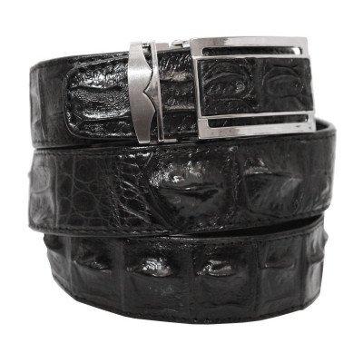 Ремень мужской из кожи крокодила черный 105 ALB-B Black , фото
