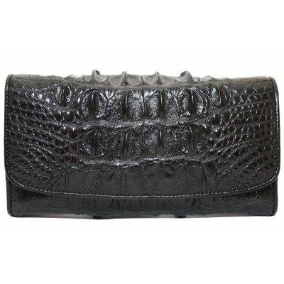 Гаманець жіночий зі шкіри крокодила чорний PCM 03 T-2 Black