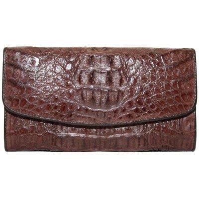 Гаманець жіночий зі шкіри крокодила коричневийPCM 03 H Brown , фото