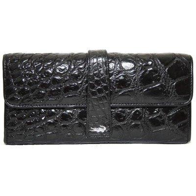 Гаманець жіночий зі шкіри крокодила чорний ALW 09 Black , фото