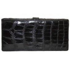 Кошелек женский из кожи крокодила черный ALW 09 Black