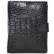 Кошелек мужской из кожи крокодила черный ALP 005 Black
