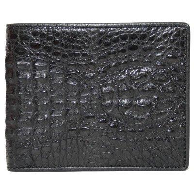 Портмоне чоловіче зі шкіри крокодила чорне ALM 17 H Black , фото