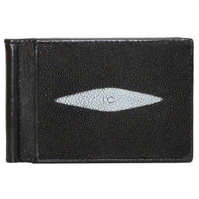 Зажим для купюр из кожи ската черный STMC 02 Black , фото