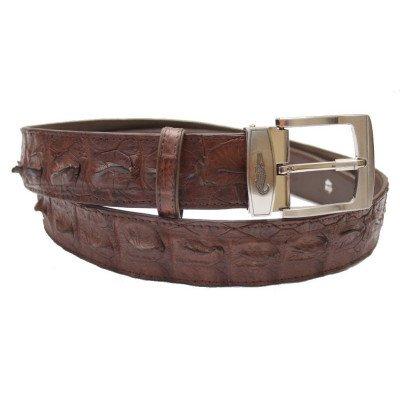 Ремень мужской из кожи крокодила коричневый 105 ALB Brown , фото