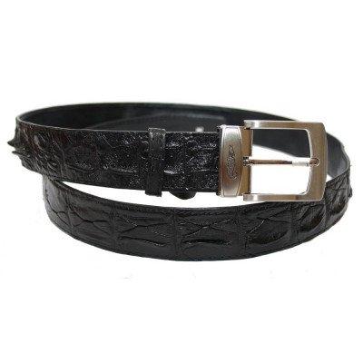 Ремень из кожи крокодила черный 105 ALB-CL Black , фото