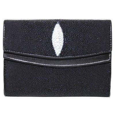 Гаманець жіночий зі шкіри ската чорний ST 64 Black , фото