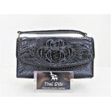 Клатч жіночий зі шкіри крокодила чорний PCM 150 BH Black