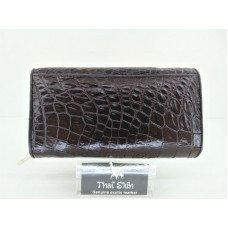 Клатч жіночий зі шкіри крокодила коричневий 150 BH Brown