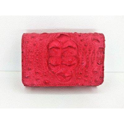 Гаманець жіночий зі шкіри крокодила червоний PCM 63 H Fire Red