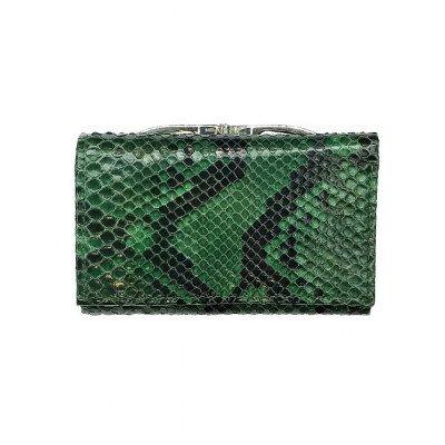 Кошелек женский из кожи питона зеленый PT 93 Green