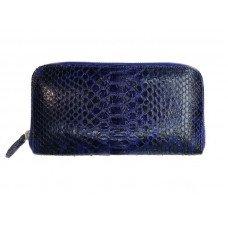 Гаманець жіночий зі шкіри пітона синій PTWI 11/11 Blue