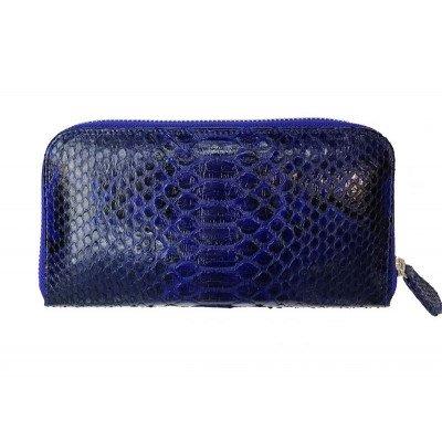 Гаманець жіночий зі шкіри пітона синій PTWI 11/11 Blue , фото