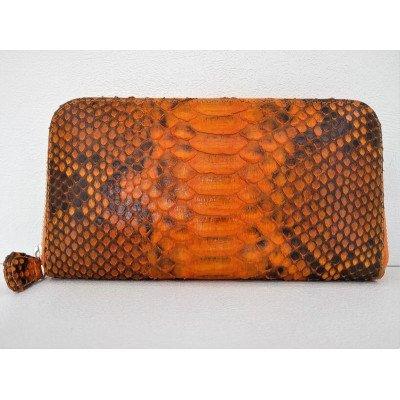 Кошелек женский из кожи питона оранжевый PTWI 11/32 Orange , фото