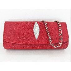 Клатч жіночий зі шкіри ската червоний ST 201 Red