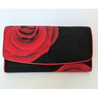Кошелек женский из кожи ската черный ST 52 ART Red Rose