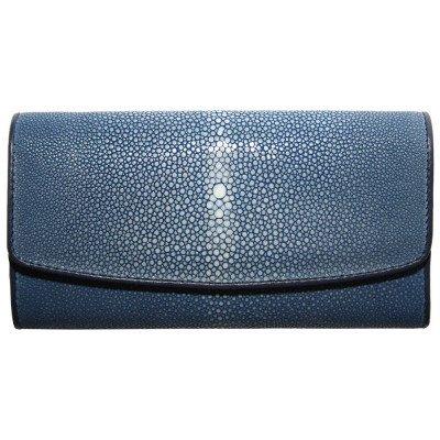 Гаманець жіночий зі шкіри ската синій ST 52 SA Blue