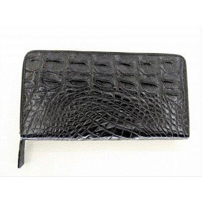 Кошелек из кожи крокодила черный ZAM 11 BS Black , фото