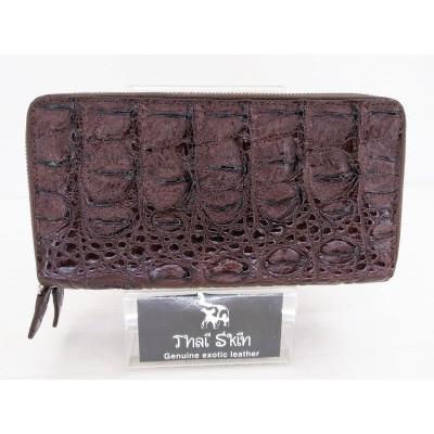 Кошелек из кожи крокодила коричневый ZAM 15 BS Brown