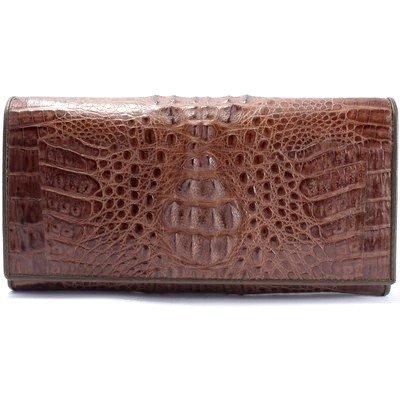 Гаманець жіночий зі шкіри крокодила коричневий PCM 04 Brown , фото